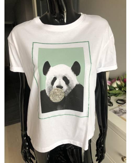 WHITE WISE - Ležérní triko s pandou