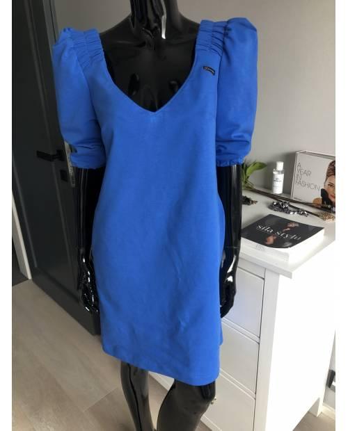 Teplákové elastické šaty barva Royal Blue