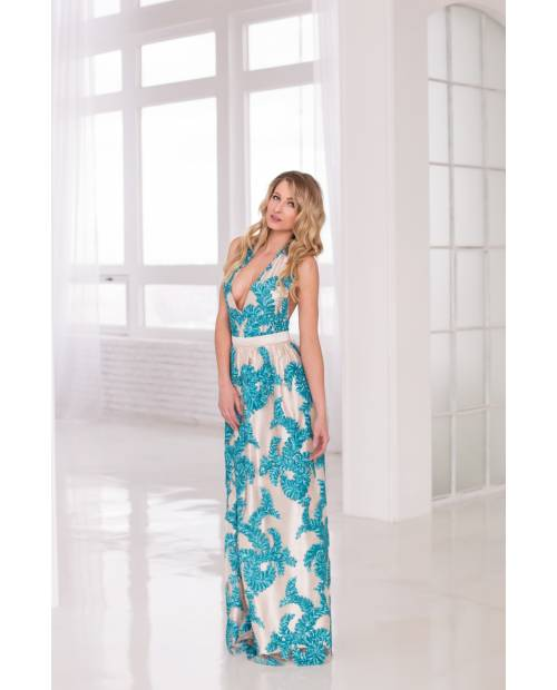 Šaty Blue Lagoon - zdobené