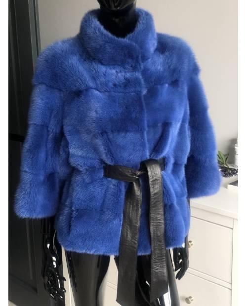 Luxusní norkový kabátek v barvě ROYAL BLUE