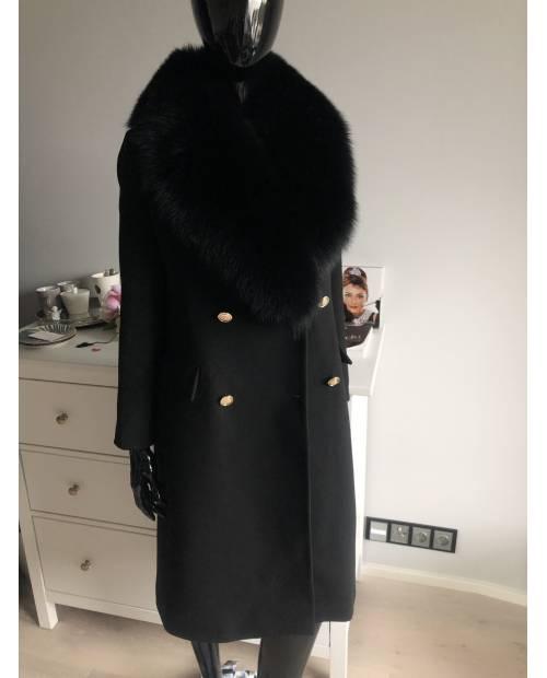 Dámský cashmerový dlouhý kabát s bohatým límcem z lišky