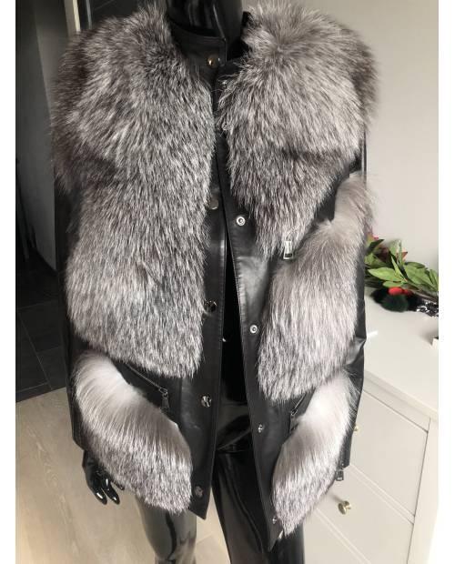 Kožená bunda s kožešinou z lišky