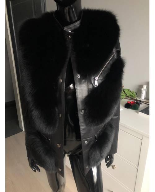Fashion kožená bunda s kožešinou z lišky s odnímtelnými rukávy