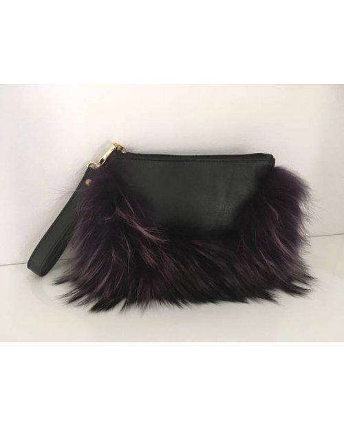 Kožená kabelka s kožešinou