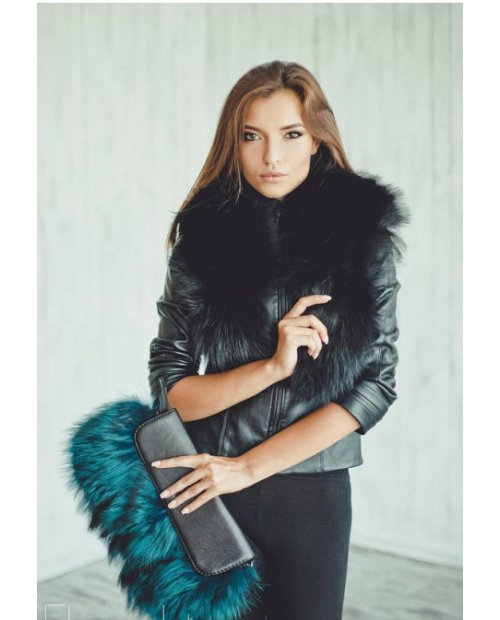 Fashion kožená kabelka s barevnou kožešinou