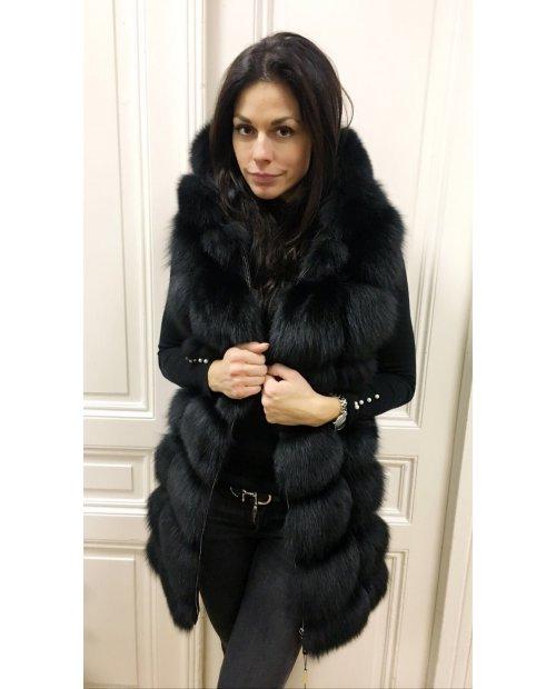 Luxury kožešinová vesta na zip s kapucí!