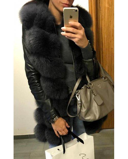 Luxury kožešinová Antracit vesta na zip!