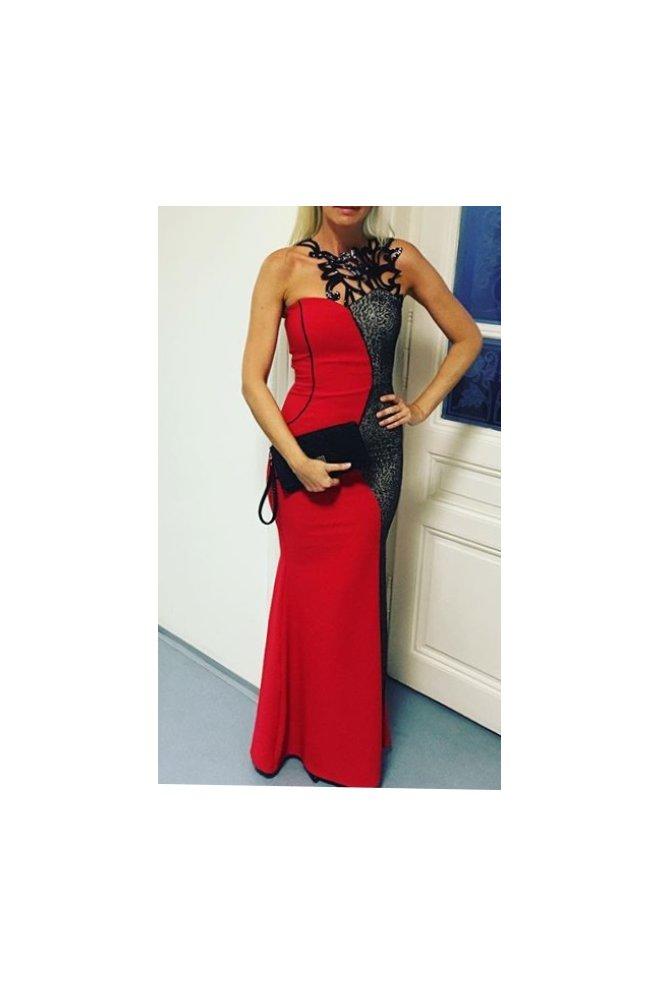 Červené dlouhé šaty s hadím vzorem - Sienne.cz c7902455be