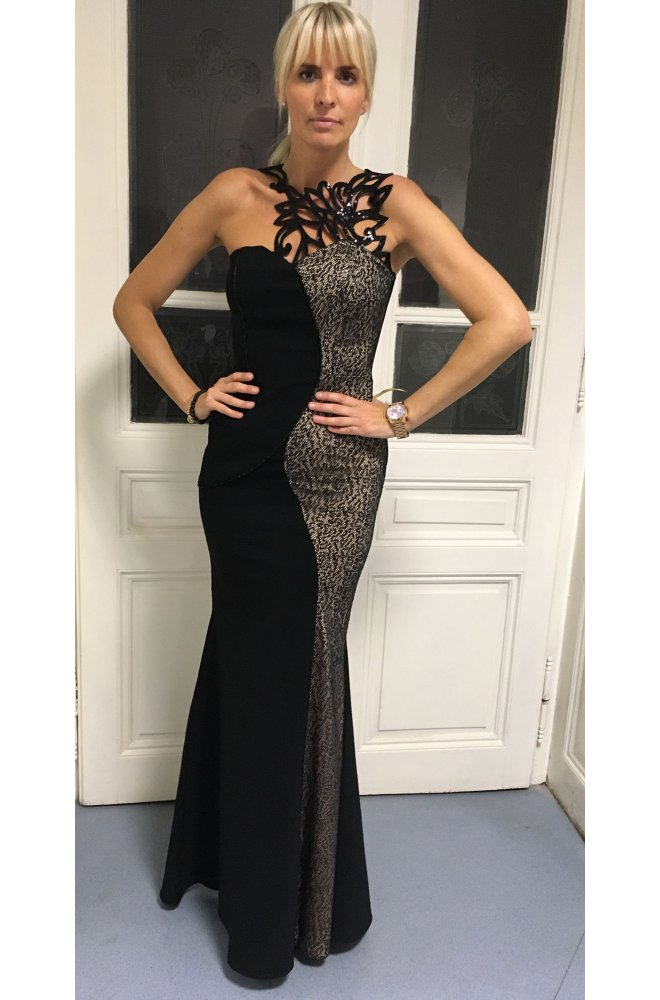 a8d95e48023 Černé dlouhé šaty s hadím vzorem - Sienne.cz