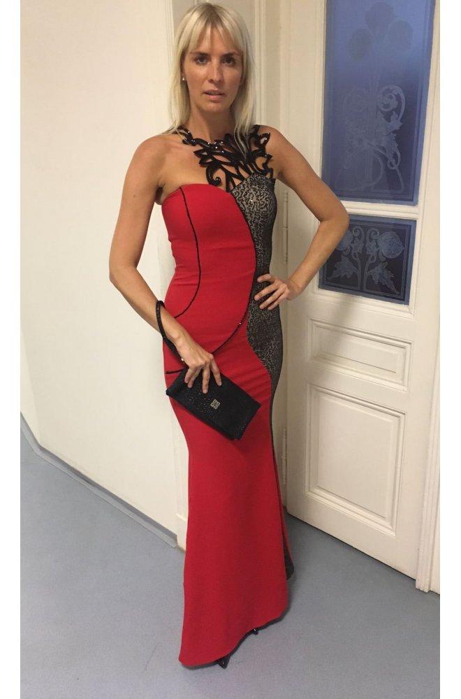 015ae4370a7 Červené dlouhé šaty s hadím vzorem - Sienne.cz