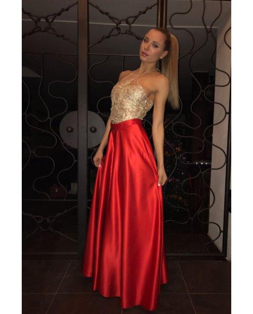 Červená večerní dlouhá saténová sukně