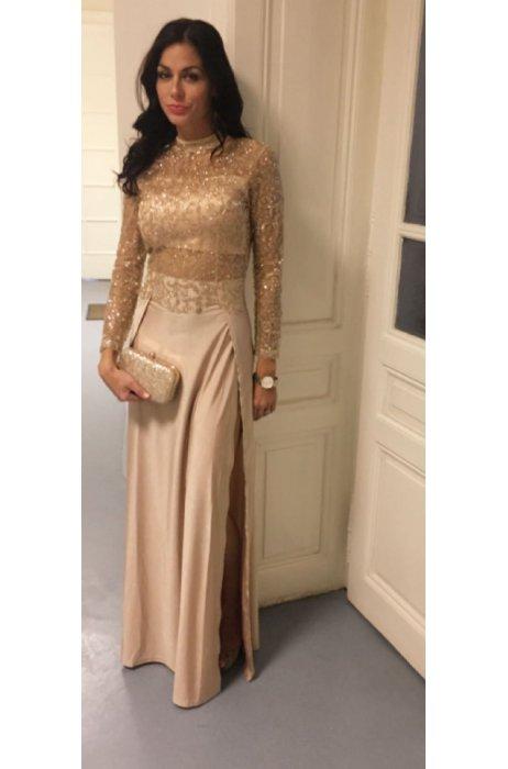 Večerní dlouhé zlaté šaty dl. rukáv