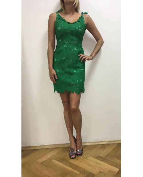 Zelené krajkové šaty se stuhou