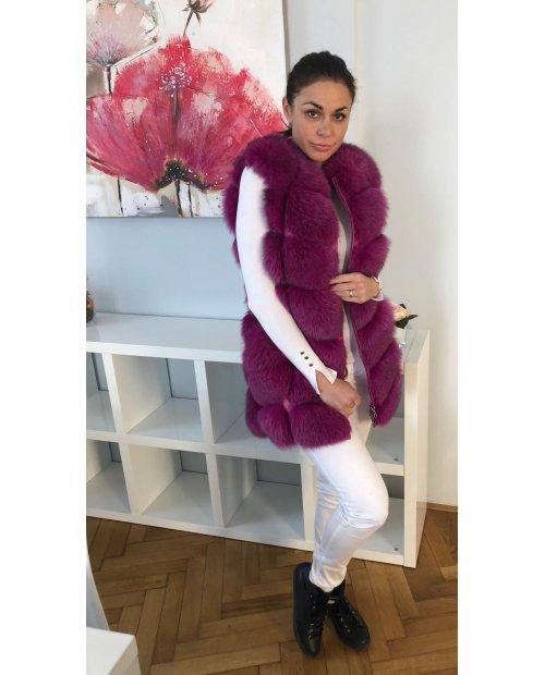 Novy model/ Kožešinová vesta z lišky - barva Plum