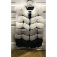 Luxury tříbarevná kožešinová vesta z lišky
