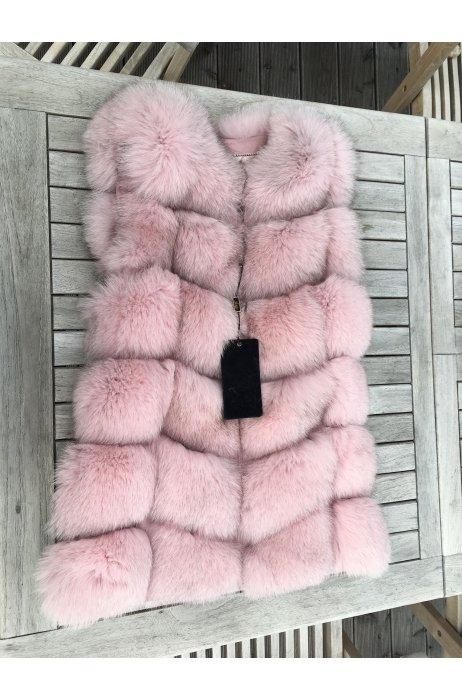 Starorůžová kožešinová vesta z lišky na zip
