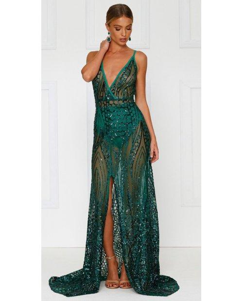 Luxusní večerní šaty zdobené flitry s rozparkem