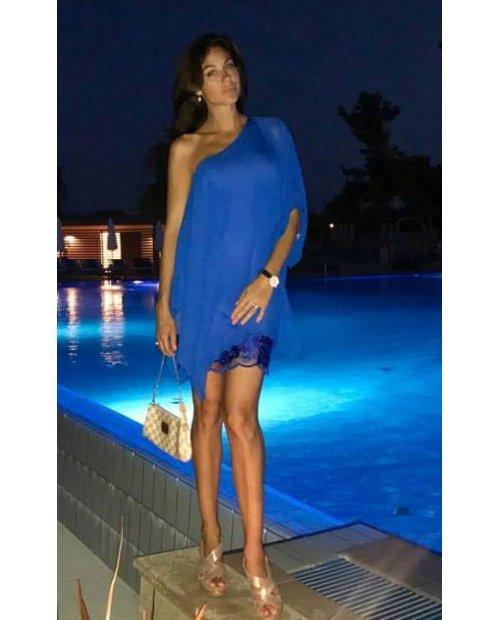 Letní  asymetrické šaty z hedvábného šifonu s krajkou