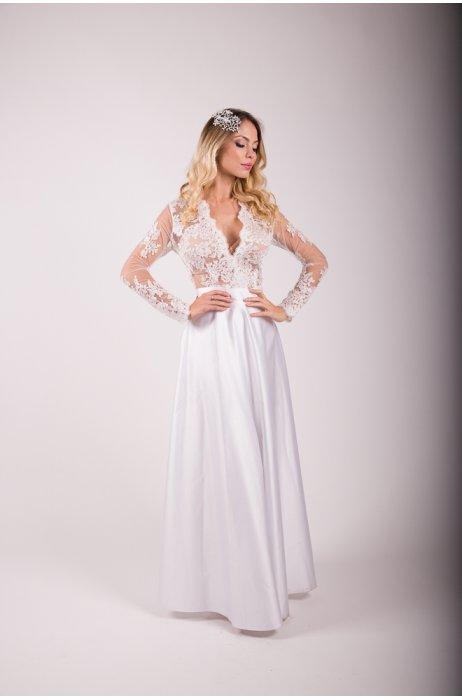 Večerní bílá saténová sukně