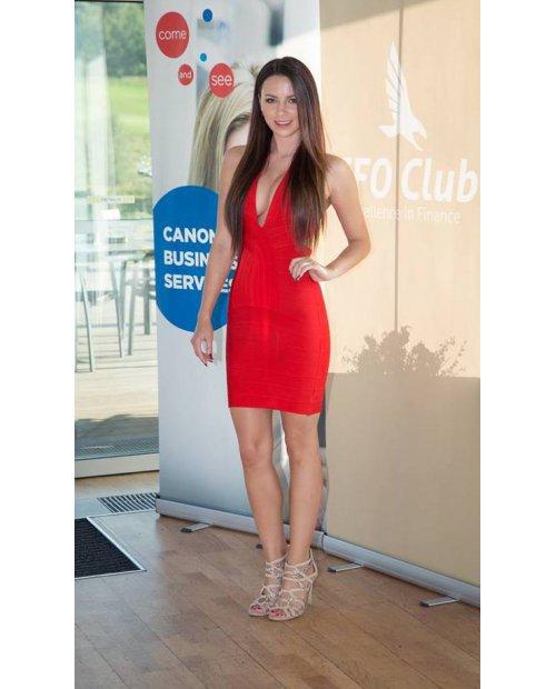 Červené bandážové šaty