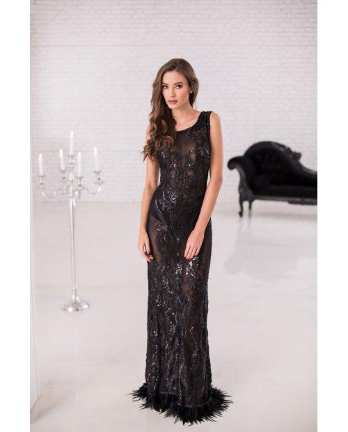 Luxusní večerní šaty zdobené flitry a peřím