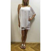Letní hedvábné asymetrické šaty s krajkou