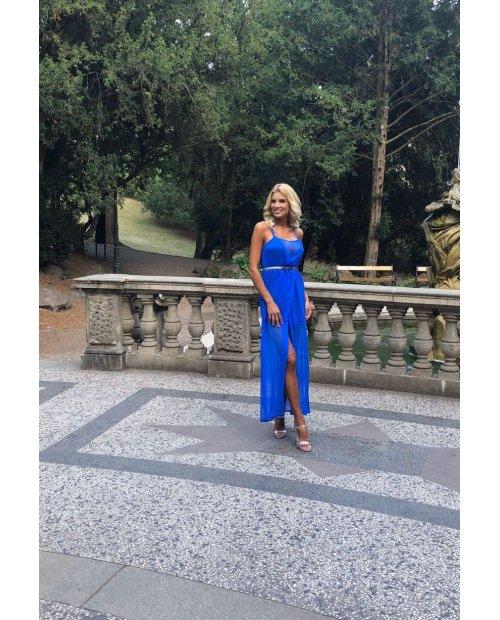 Electric blue hedvábné dlouhé šaty