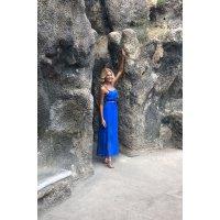 New model/ Royal blue hedvábné dlouhé šaty