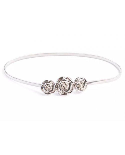 Fashion elastický kovový pásek se sponou ve tvaru růže