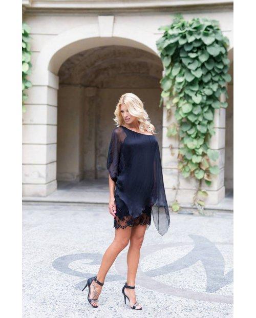 Letní hedvábné asymetrické šaty