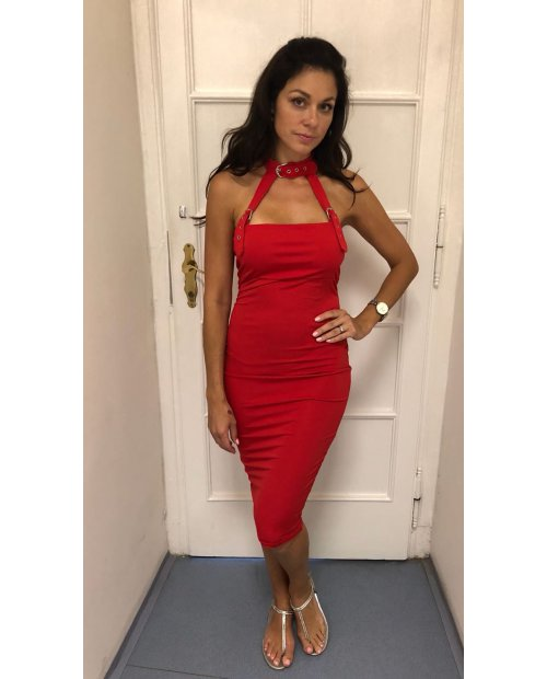 Sexy červené koktejlky se sponou