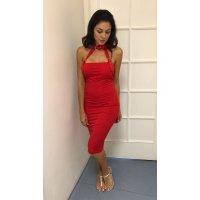 Sexy červené elegantní šaty se sponou
