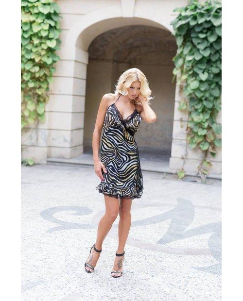 Zavinovací hedvábné letní šaty s krajkou