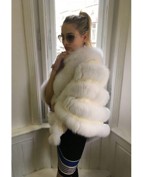 Luxusní kožešinové poncho z lišky
